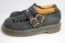 DOC MARTENS Girls Kids Black Leather Mary Jane Buckle Shoes T Strap US 1 Flats