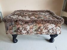 Vintage Rectangle Footstool Foot Rest Brown Floral Fabric Furniture Home Decor