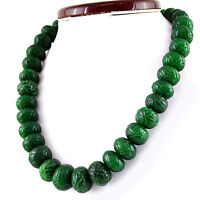 1137.50 Cts Earth Mined Green Emerald Round Carved Beads Hand Made Necklace