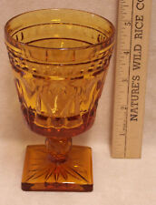 Vintage Amber Color Glass Goblet Wine Water Pressed Glass