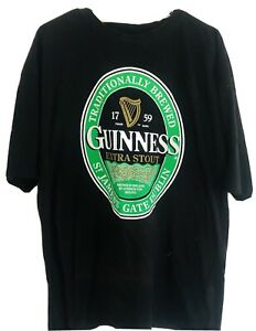 Guinness Official Merchandise T-Shirt Size 2XL XXL Black Graphic Tee With Logo