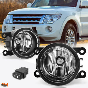 For 10-15 Mitsubishi Montero Sport Clear Lens Front Bumper Fog Light/Lamp+Switch