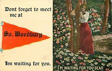 """Waiting for You"" in South Woodbury Vermont~Don't Forget~1913 Pennant Postcard"