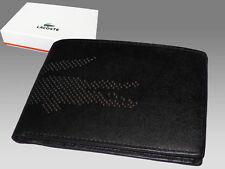 Nuevo auténtico LACOSTE grandes Billetera + Monedero Cartera de Cuero Negro Perforada Croc 5