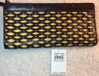 New Tagged $175 Tusk LT-487 Brown/Yellow Handheld Clutch Wallet Wristlet