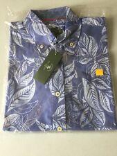 NWT Men's Hawaiian Shirt Medium Blue Leaf Cotton Blend Santa Barbara Polo Club