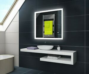 Badspiegel mit LED Beleuchtung Wandspiegel L01 mit Touch & Sensor Schalter