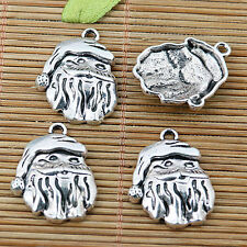 8pcs Tibetan silver Santa Claus head charms EF2014