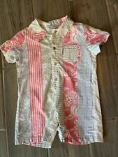 Baby Guess shortall Hawaiian 18 mo pink white gray