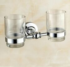 Polished Chrome Wall Mounted Toothbrush Holder with Two Glass Cup Tumbler Holder