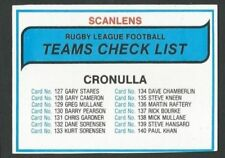 Checklist 1980 Season NRL & Rugby League Trading Cards