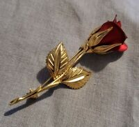 Vtg Signed with CROWN Vintage Brushed Goldtone single red Rose Leaf Brooch Pin