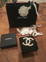 Stunning Large Gold 2010 Chanel Pearl And Crystal Brooch