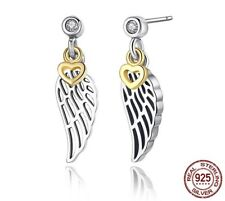 100% 925 Sterling Silver Love & Guidance Feather Stud Earrings Holidays gift