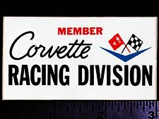 CORVETTE Racing Division - Original Vintage 1970's Racing Decal/Sticker CHEVY