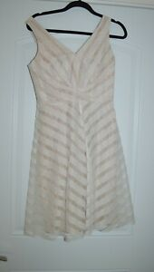 MUSE Lace Stripe White Nude Fit & Flare Lace Overlay Chic Dress NWT  Size 4 $178