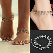Women Anklet Silver Bead Chain Ankle Barefoot Sandal Beach Foot Jewelry