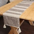 """Table Runner-Hand Woven Exquisite Table Runner 14x72"""" Linear Obsession Taupe"""