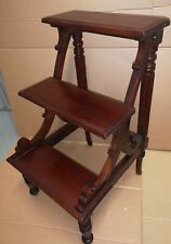 Vintage English Regency Style 3 Step Mahogany Library Ladder Steps Stool