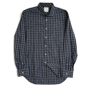 Bill Reid Mens Button Up Long Sleeve Shirt Sz Large Standard Cut Blue Grey Plaid