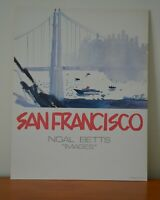 Rare 1980s NOAL BETTS San Francisco Golden Gate Skyline Watercolor Print Poster