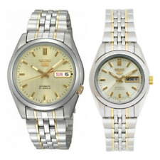 Seiko 5 Classic Gold+White Couple's 2 tone Gold Plated Stainless Steel Watch Set