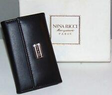 NIB NWT Vtg NINA RICCI Paris Maroquinerie Black Leather Key Case Silver ITALY