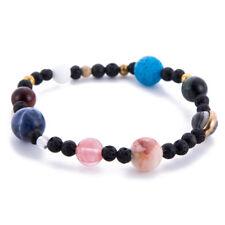 Universe Solar System Galaxy Nine Planets Stone Beads Braided Bracelet Gift XW