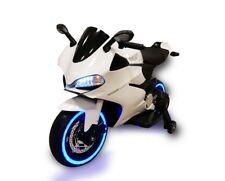 Moto  Elettrica per Bambini  MOTO STRADALE 12V sedile in pelle BIANCO