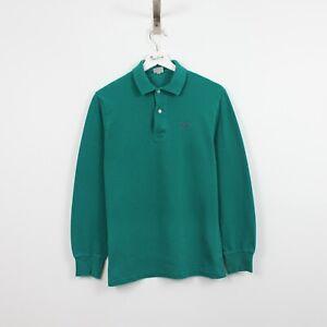 AC43 Vtg HUGO BOSS Polo Men Green Long Sleeve Cotton Shirt Size S