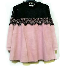 Pink Longsleeve Flare Top With Black Lace De
