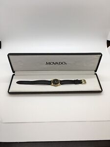 Vintage Movado Ladies Museum Watch Black Leather Band With Original Box