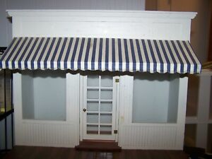 1:12  OOAK Irv Turbull Roombox Store Front Dollhouse Miniature Real Glass Blue