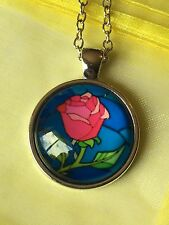 The Rose. Stain Glass Effect. Beauty And Beast Glass Cabochon Dome Necklace. NEW