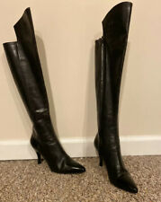 Chanel Knee high boots black leather made in Italysize 36 1/2 (US - 5.)