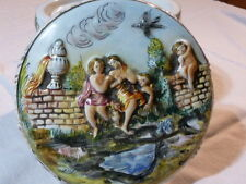 Gorgeous Capodimonte Lidded Bowl Centerpiece Dish Putti Cherubs Porcelain Italy