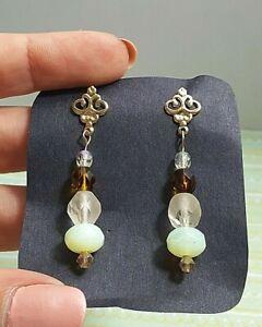 "Handmade 14K Gold Filled Earrings 1.5"" Dangle Czech Glass Beads Yellow Opal OOAK"
