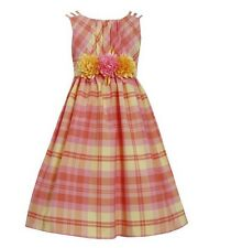 New BONNIE JEAN® Girl's Size 12.5 OrangeFlower Waist Plaid Taffeta Dress NWT $78