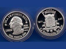 Silver PESETA PATILLAS 2009 Puerto Rico Boricua Quarter 1/100 Plata