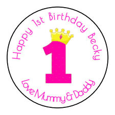 Girls 1st Birthday Personalised Thank You Sticker Party Sweet Cone Age, Pink