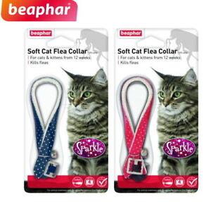 2 X BEAPHAR SPARKLE REFLECTIVE CAT KITTEN FLEA COLLAR 4 MONTHS PROTECTION