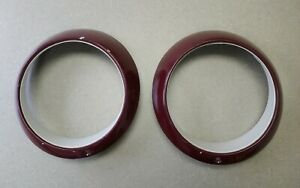 PAIR ORIGINAL PORSCHE 911 912 930 MAROON SUGAR SCOOP HEADLIGHT TRIM RINGS 14