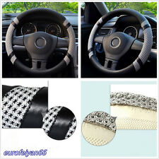 Grey 38cm/15'' Microfiber Leather Ice Silk Car SUV Steering Wheel Cover Antislip