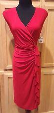 American Living/Ralph Lauren 270568390012 Red Ruffle Stretch Jersey Dress