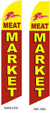 TWO Meat Market  15 Foot Swooper Feather Flag Sign