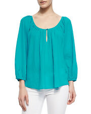 Joie khan long sleeve peacock blue blouse top Size XS New
