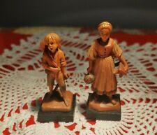 "Anri Miniature Wood Carvings 2 7/8 Milk Maid Rare & 2"" Boy With Staff"
