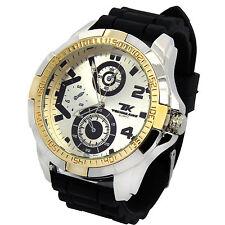 Mens Techno King 2Tone Metal Case Black Silicone Band Fashion Quartz Wrist watch