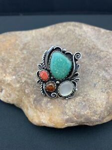 Rare Native American Sterling Silver Blue Turquoise Spiny Oyster Ring Sz 10 368