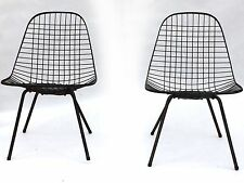 PAIR Herman Miller Low Wire Chairs Eames Original X Bases Mid Century Modern